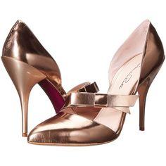 Oscar de la Renta Fauna 105mm (Copper) High Heels ($357) ❤ liked on Polyvore featuring shoes, pumps, bronze, pointed toe pumps, oscar de la renta shoes, pointed toe shoes, slip-on shoes and high heel court shoes