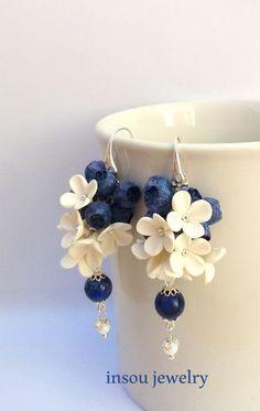 Blue EarringsFlower EarringsBerry EarringsBlue by insoujewelry Fairy Jewelry, Beaded Jewelry, Handmade Jewelry, Blue Earrings, Flower Earrings, Flower Jewelry, Dangle Earrings, Polymer Clay Flowers, Polymer Clay Earrings