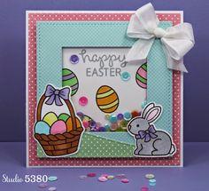 Studio 5380 Happy Easter Shaker Card #lawnfawn
