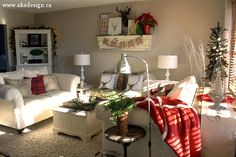 traditional red and cream christmas living room Farmhouse Modern Christmas Tour
