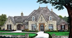 Plan French Country Home Plan with Separate Guest Suite and Porte Cochere French Country House Plans, European House Plans, French Country Bedrooms, Luxury House Plans, French Country Style, Master Suite, Guest Suite, Porte Cochere, Brick Facade