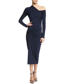 B33HK Donna Karan Long-Sleeve Drape Cocktail Sheath Dress, Dark Navy