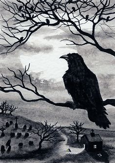 Black Cat Society Midnight Walk ArT Prints or by AmyLynBihrle Crow Art, Raven Art, Bird Art, Rabe Tattoo, Jackdaw, Crows Ravens, Deviant Art, Halloween Art, Art Portfolio
