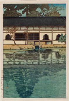 宇治平等院ノ一部 うじ びょうどういんのいちぶ Part of the Byoudou-in Temple at Uji. 川瀬巴水 かわせはすい Kawase Hasui. 旅みやげ第二集 From series Souvenirs of Travel II.