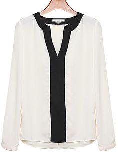 White V Neck Long Sleeve Chiffon Blouse - Sheinside.com