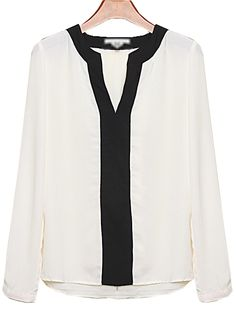 White V Neck Long Sleeve Chiffon Blouse - Sheinside.com