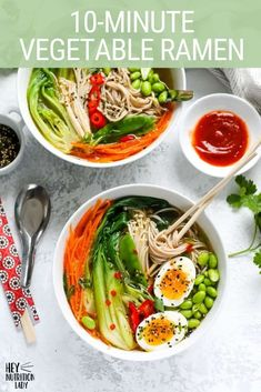 Easy Vegetable Ramen Noodles with a spicy miso broth. Loaded with veggies, plant-based protein, and an optional soft-cooked egg, this vegetarian ramen noodle bowl is ready in just 10 minutes and is the perfect quick lunch or dinner. Vegetarian Ramen, Vegetarian Comfort Food, Tasty Vegetarian Recipes, Healthy Dinner Recipes, Appetizer Recipes, Soup Recipes, Diet Recipes, Appetizers, Vegetable Ramen