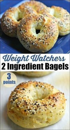 These 2 Ingredient Weight Watchers Bagels are a gamThese 2 Ingredient Bagels are a game changer. Just 3 points each on the Weight Watchers Freestyle program. 2 Ingredient Dough makes the most yummy bagels! Petit Déjeuner Weight Watcher, Plats Weight Watchers, Weight Watchers Breakfast, Weight Watchers Meals, Ww Recipes, Cooking Recipes, Healthy Recipes, Popular Recipes, Recipes Dinner