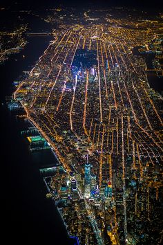 NYC. Aerial Photo of Manhattan at night, looking NE // by Vincent Laforet