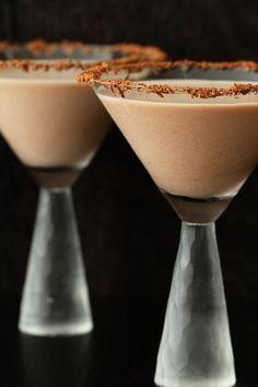 Caramel Mocha Martini  (•½ oz vodka  •1 oz Baileys with a Hint of Caramel  •1 oz Baileys with a Hint of Coffee  •Optional: Rim with grated chocolate)