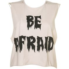Be Afraid Cropped Vest ($20) ❤ liked on Polyvore featuring tops, shirts, tank tops, crop tops, crop, crop vest, cut-out crop tops, cotton crop top, cropped shirts and cotton shirts