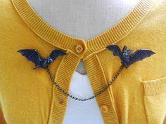 Murciélago suéter protector broche - Halloween espeluznante gótico Psychobilly Rockabilly Pin Up joyas del Horror