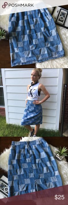 """Adorable Vintage Patchwork Denim Jean Pencil Skirt Make a statement in this block patchwork vintage pencil skirt. Great used condition. Zipper closure in back. I so wish this fit me because it so unique and adorable. Measurements: 14"""" waist x 24"""" length, 5 1/2 slit. (Model is size 2 but modeling for styling purposes). No holes or stains. No trades please. Skirts Midi"""