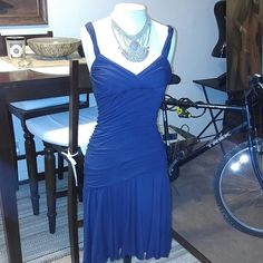 "Sexy Bebe fitted waist strapless midi dress Very sexy form fitting navy blue dress. With adjustable straps. Bottom is fun and flirty flair. Length is 34"" from chest. Size medium. Never worn. bebe Dresses Prom"