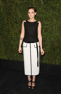 Kristen Stewart, in Chanel S15 HC (Look 11), at Chanel and Charles Finch Pre-Oscar 2015 Dinner at Madeo Restaurant