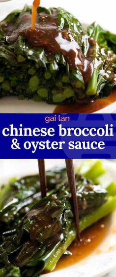 Steamed Chinese Broccoli (called Gai Lan) drizzled with a fabulous garlic ginger Oyster Sauce. Despite what you may read in other recipes its not just plain Oyster Sauce you need other flavourings! Chinese Broccoli Recipe, Broccoli Recipes, Veggie Recipes, Asian Recipes, Healthy Recipes, Ethnic Recipes, Indonesian Recipes, Sushi Recipes, Dinner Recipes