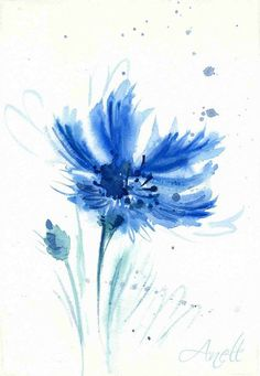 Blue Watercolor Flower Print Cornflower by AnellHappyWatercolor