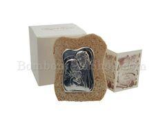 Roccia in marmo di resina ricomposto con icona Sacra Famiglia in argento