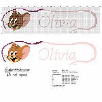 Point de croix bébé nom Olivia avec Jerry personnage de dessin animé Tom et Jerry
