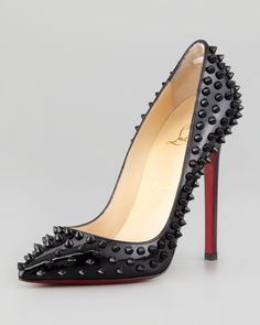 Christian Louboutin Pigalle Spiked Patent Red Sole Pump $1295.00