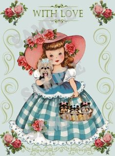 Vintage Girl with Yorkies Yorkshire terrier card by Vintage Children's Books, Vintage Girls, Old Greeting Cards, Little Charmers, Decoupage Vintage, Vintage Birthday, Vintage Holiday, Vintage Images, Paper Dolls