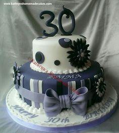 2 tier lilac and purple 30 th birthday cake