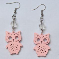 Fashion Carving wood Owl Earrings Handmade Red Green Blue Orange Owl Earrings Laser Cut eco Friendly Wooden Bird Jewelry