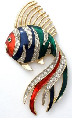 "Statement Figural Jewelry Pins - This is a gold tone fish brooch with green, blue and red guilloche enameling and clear rhinestones. It measures a whopping 5.5"" long and 2.75"" wide. This substantial t"
