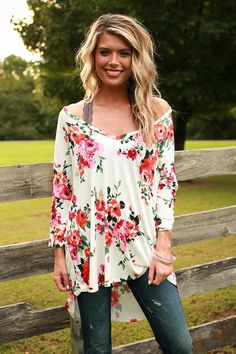 61e302b0d5a The Parker Tunic in Fireside Floral Dressy Casual Women, Floral Tunic,  Floral Tops,. Impressions Online Boutique
