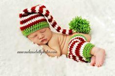 Crochet Baby Elf Hat, stocking and Legwarmer set