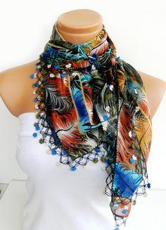 2012 Spring trends Multicolor Turkish Yemeni OYA Scarf ..bridal,scarf,authentic, romantic, elegant, fashion,  $34.00 USD