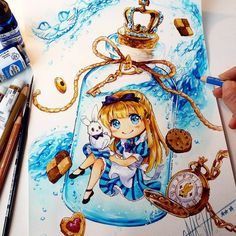 Finished Painting of my Alice in the Bottle Illustration with watercolors and colored pencils ♤♡◇♧ It will come as a Print @ my Shop --> www.naschi.storenvy.com in...