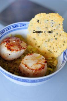 Noix de Saint Jacques sur fondue de poireaux au curry