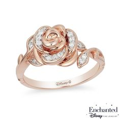 She'll treasure this delightful diamond rose ring from the Enchanted Disney Collection inspired by Belle. Fashioned in precious 10K rose gold, this bold sculpted design features a blooming rose touched with sparkling diamonds. The ring's shank is created from elegant polished gold stems and diamond leaves. Radiant with 1/10 ct. t.w. of diamonds and a brilliant buffed luster, this magical choice predicts a bright future together. ©Disney