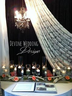 Beautiful lace, birch, chandelier and candles registry table http://www.devineweddingdesign.ca/