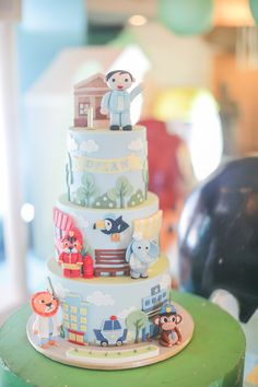 """Mayor Dylan's Charming """"My Own Little Town"""" Themed Party – Cake Soft Colors, Green Colors, Party Cakes, Party Favors, 3 Layer Cakes, Party Themes, Party Ideas, Striped Table, Pastel Palette"""