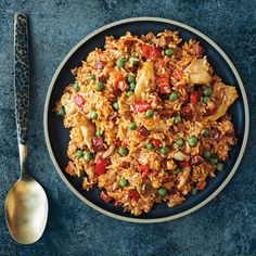 Chicken and Chorizo Paella with Roasted Red Peppers