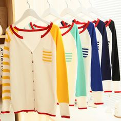 Online Shop 2014 new Womens Long Sleeve Cardigan Knit Sweater Coat stripe Tops outwear Cover Up Shirts with pocket Free shipping  Aliexpress Mobile