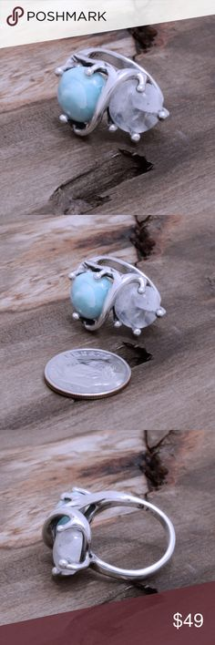 """950 Sterling, Moonstone & Larimar Ring Larimar has small cracks and inclusions hence lower price. Stamped """"950"""". Higher Sterling finess than 925 This is not a stock photo. The image is of the actual article that is being sold. Sterling silver is an alloy of silver containing 92.5% by mass of silver and 7.5% by mass of other mThe sterling silver standard has a minimum millesimal fineness of 925. The fitness on this ring is 950. All my jewelry is solid sterling silver. I do not plate. crafted…"""