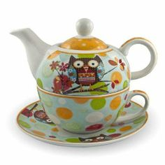 porzellan tee set tea for one teeservice teekanne tasse untersetzer eule lila wei. Black Bedroom Furniture Sets. Home Design Ideas