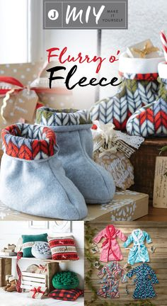 What's the one thing you need to stay warm and cozy this winter season? Fleece! Make a fleece robe, slippers and pillows for yourself or give them away as comfortable holiday gifts. Find out all of the different ways you can make-it-yourself this season with this flurry of fleece projects.