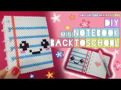 DIY mini notebook | back to school | easy kawaii | perler hama beads | cute pixels | draw pixel art - YouTube