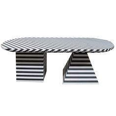 For Sale on - Black and white striped dining table by Kelly Wearstler, USA, This substantial and graphic table was designed by Kelly for use in her Bergdorf Goodman Coffee Table To Dining Table, Furniture Dining Table, Dining Table Design, Cool Furniture, Furniture Design, Futuristic Furniture, Console Tables, Plywood Furniture, Coffee Tables