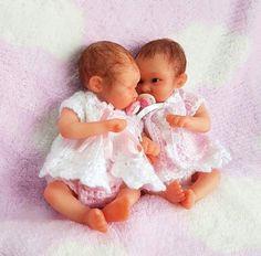 TWIN OOAK miniature NEWBORN baby GIRLS collectible ART doll CLAY sculpt D MCLEOD  | eBay