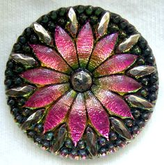 "LG Czech Glass Button - Bright Pink Mirror Back Faceted Glass ""Daisy"" Button w/ Silver Accents"