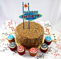 Las Vegas german chocolate desert cake with poker chip cupcakes and playing card cookies By Hannahjoyscakes.com