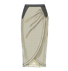 V8711 Fitted, above mid-knee or mid-calf length, mock wrap skirts #voguepatterns #pencilskirtpattern