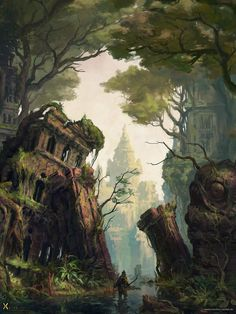 Fantasy worlds Swamp City, Markus Neidel on ArtStation at . Fantasy City, Fantasy Places, Fantasy Kunst, Fantasy World, Illustration Landscape, Digital Illustration, Art Illustrations, Fantasy Concept Art, Fantasy Artwork