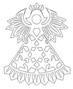 New Year decoration. Discussion on LiveInternet - Russian Online Diaries Service Kirigami Patterns, Christmas Templates, Christmas Projects, Paper Cutting Patterns, Paper Art, Paper Crafts, Silhouette Clip Art, Angel Crafts, New Years Decorations