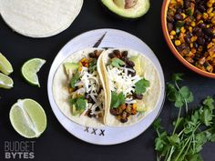 Roasted Corn and Zucchini Tacos... oh no! should I make these for Meatless Monday or Taco Tuesday!!??!